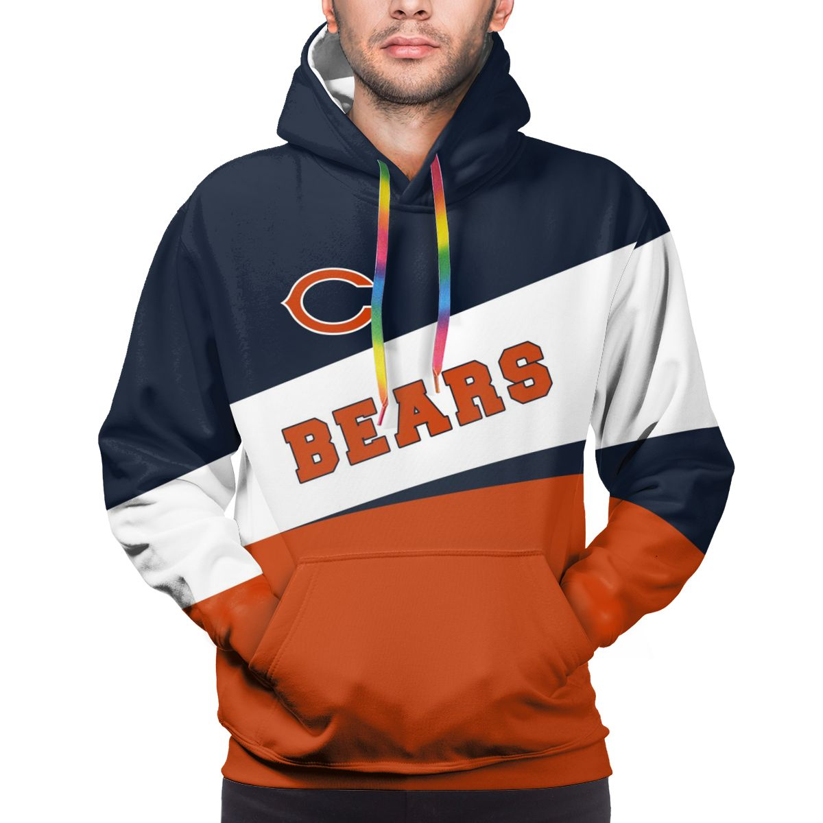 Bears Logo Print Hoodies For Men Pullover Sweatshirt
