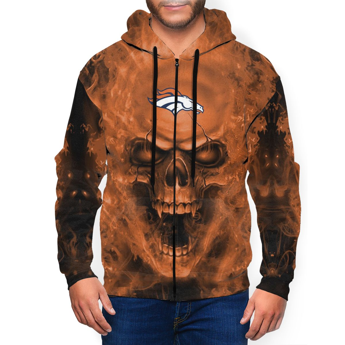 3D Skull Broncos Men's Zip Hooded Sweatshirt