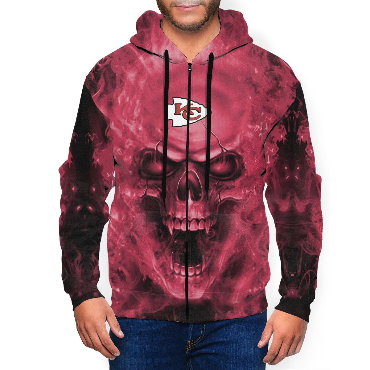 3D Skull Chiefs Men's Zip Hooded Sweatshirt