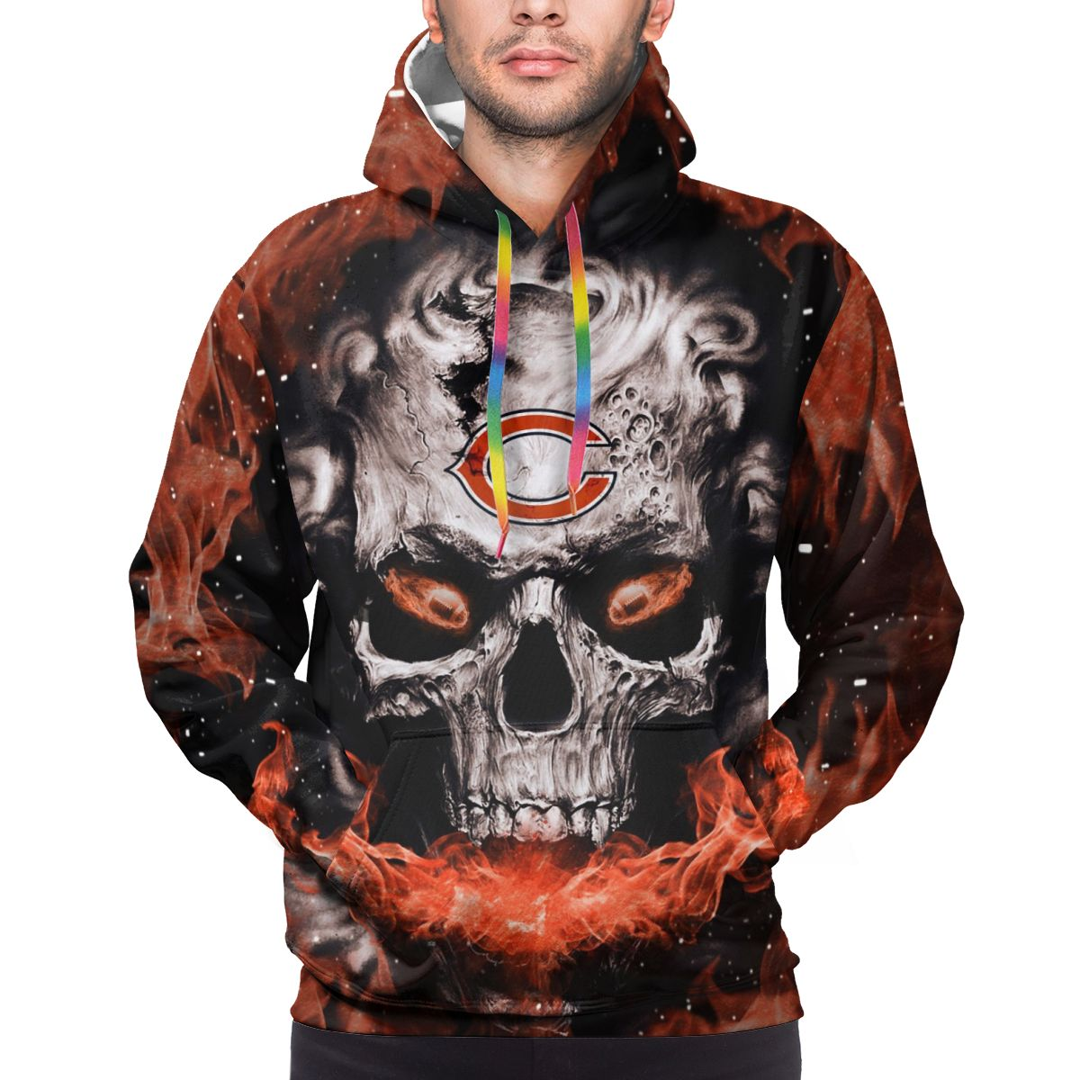 3D Skull Bears Logo Print Hoodies For Men Pullover Sweatshirt
