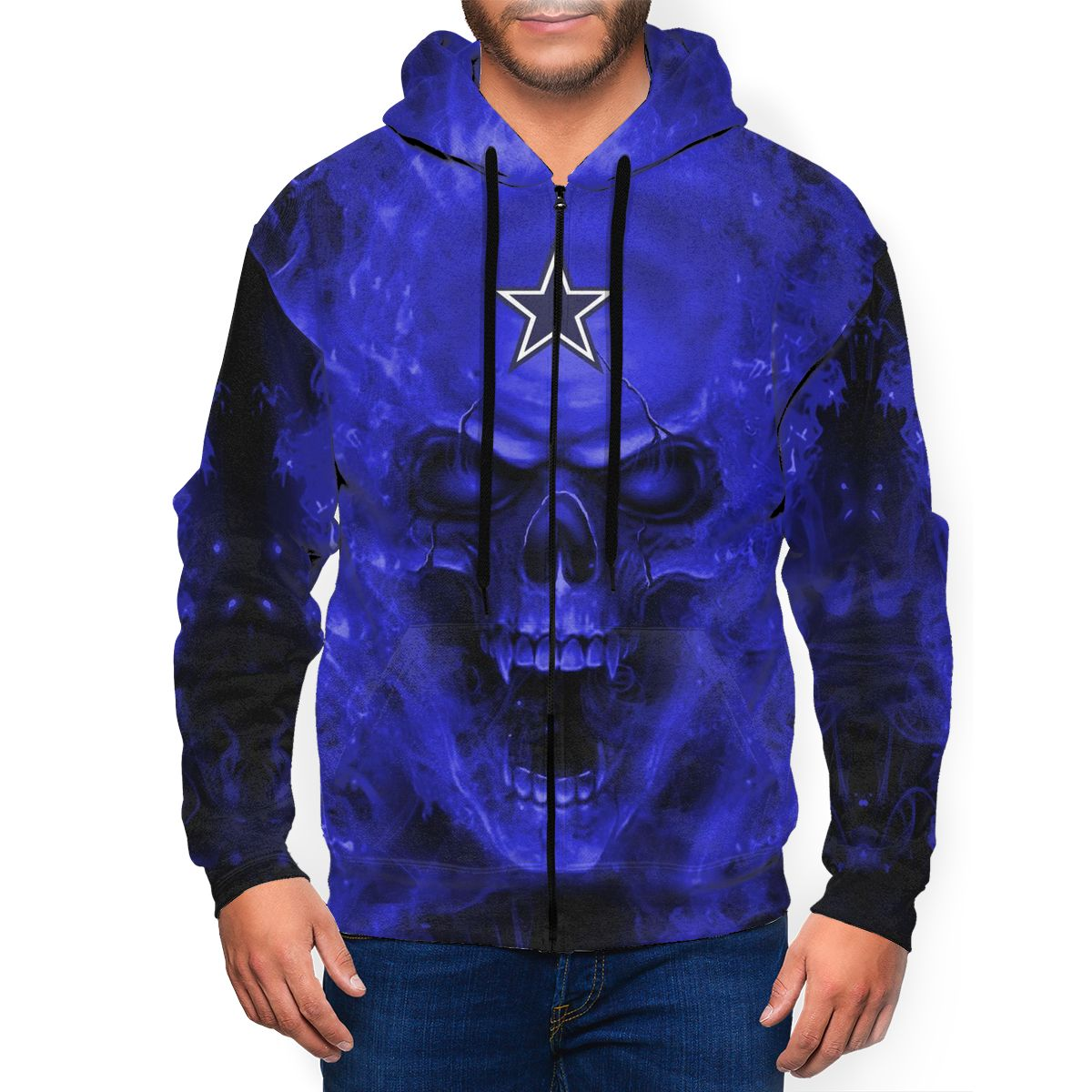 3D Skull Cowboys Men's Zip Hooded Sweatshirt