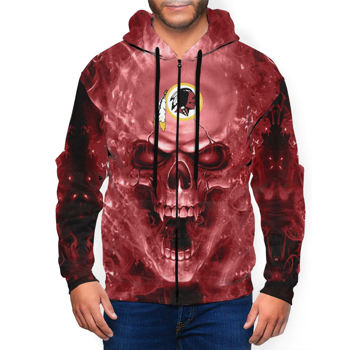 3D Skull Redskins Men's Zip Hooded Sweatshirt