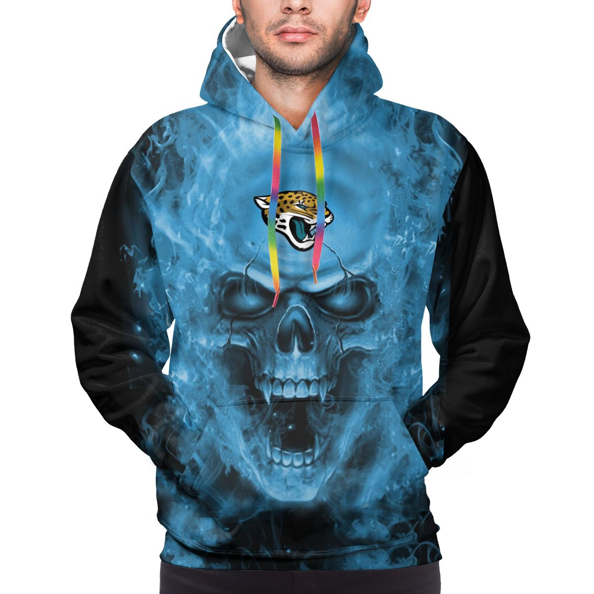 3D Skull Jaguars Logo Print Hoodies For Men Pullover Sweatshirt