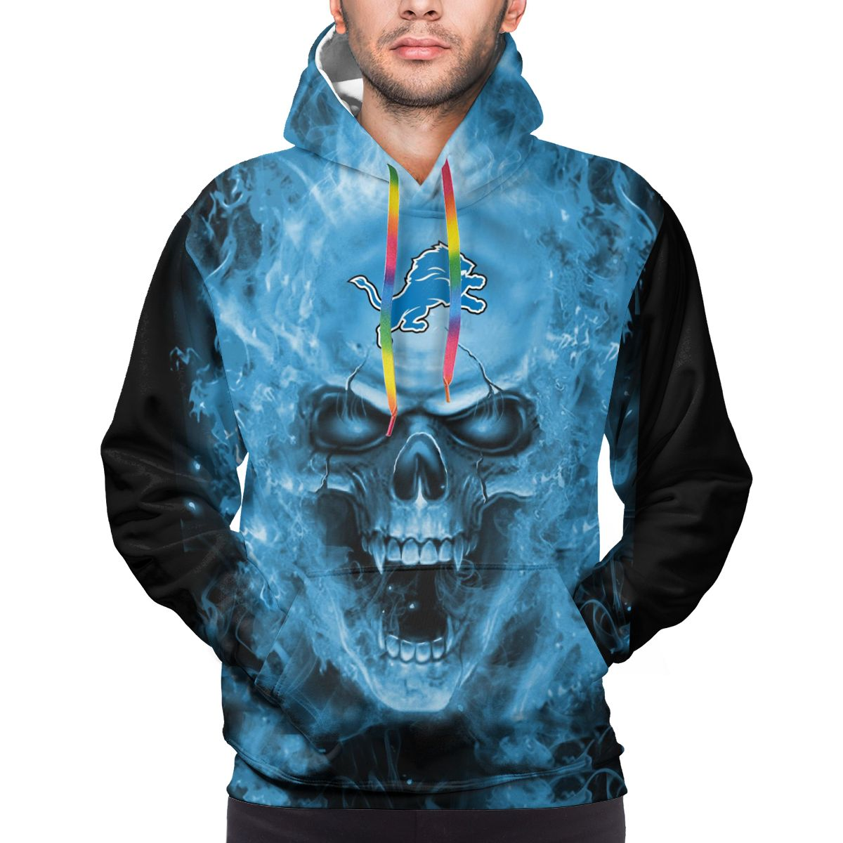 3D Skull Lions Logo Print Hoodies For Men Pullover Sweatshirt