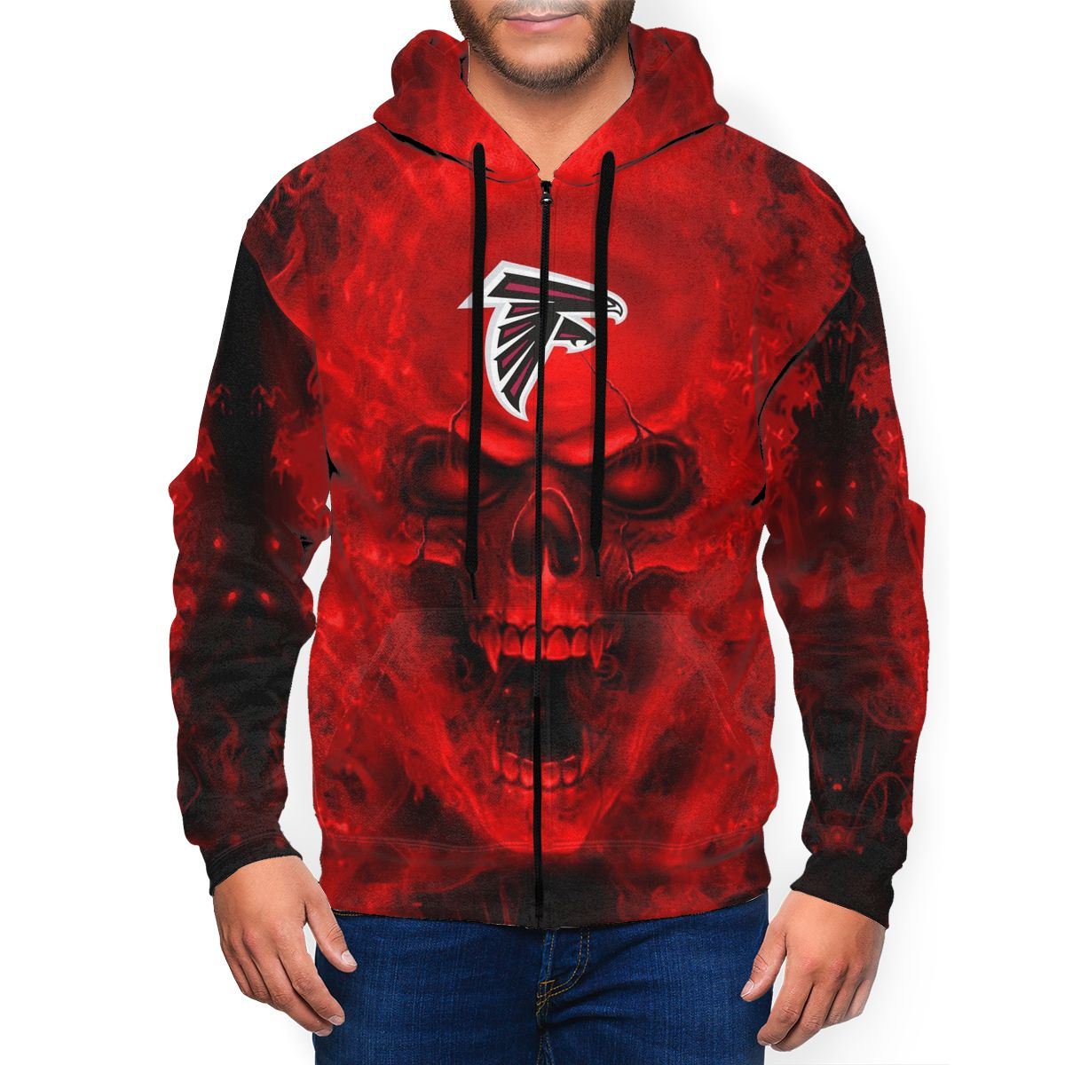 3D Skull Falcons Men's Zip Hooded Sweatshirt