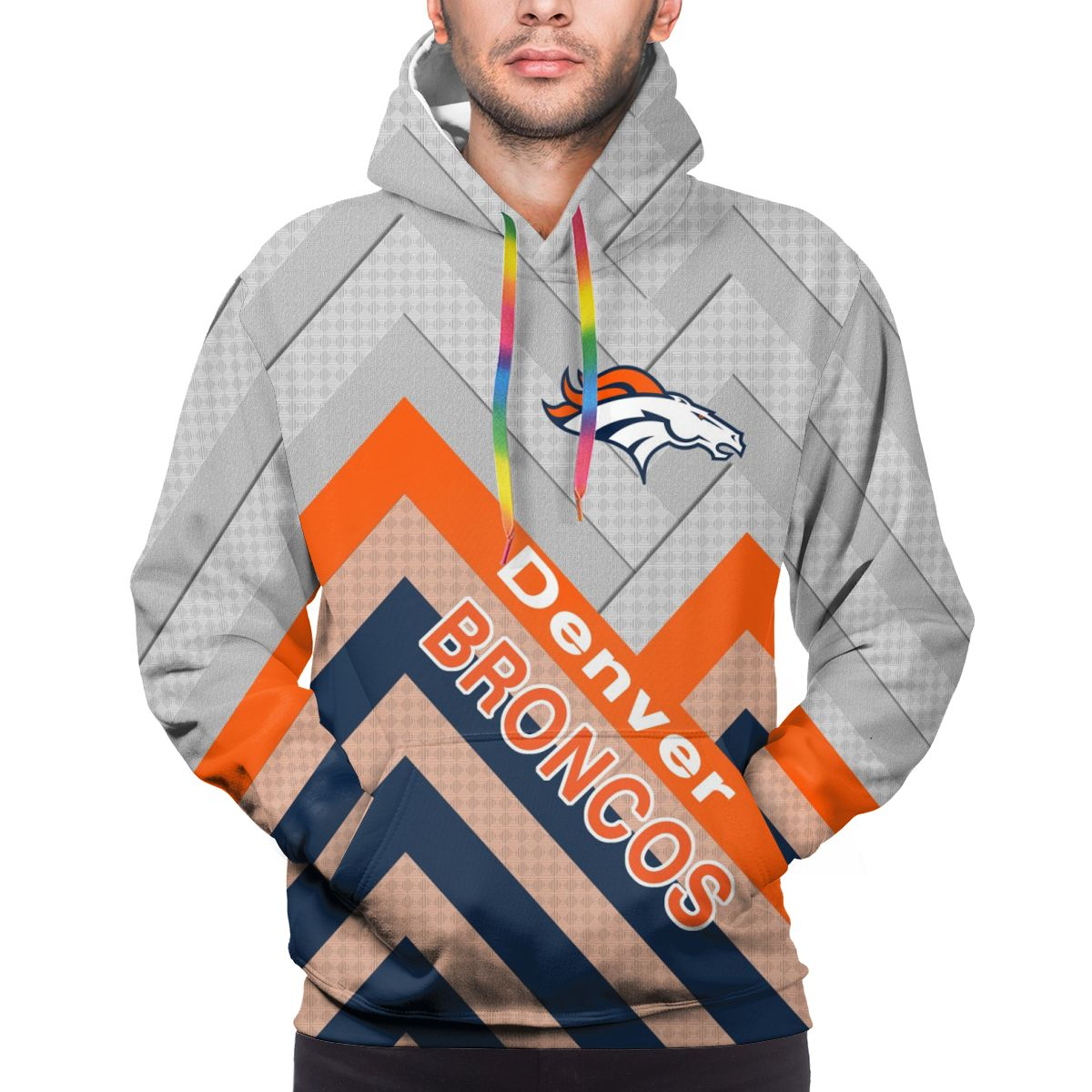 BRONCOS Logo Print Hoodies For Men Pullover Sweatshirt