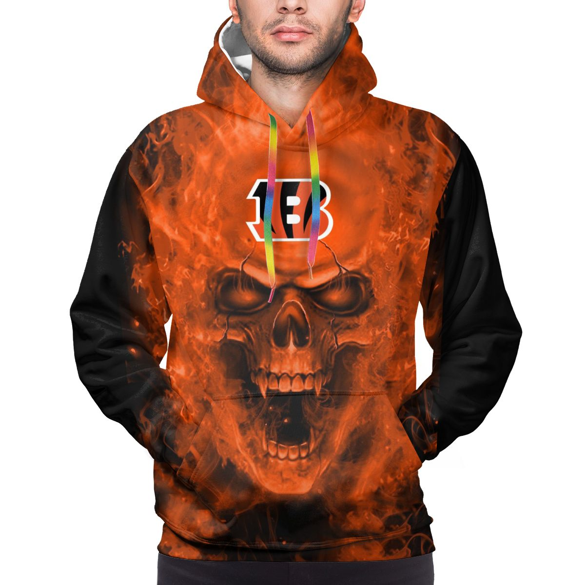3D Skull Bengals Logo Print Hoodies For Men Pullover Sweatshirt