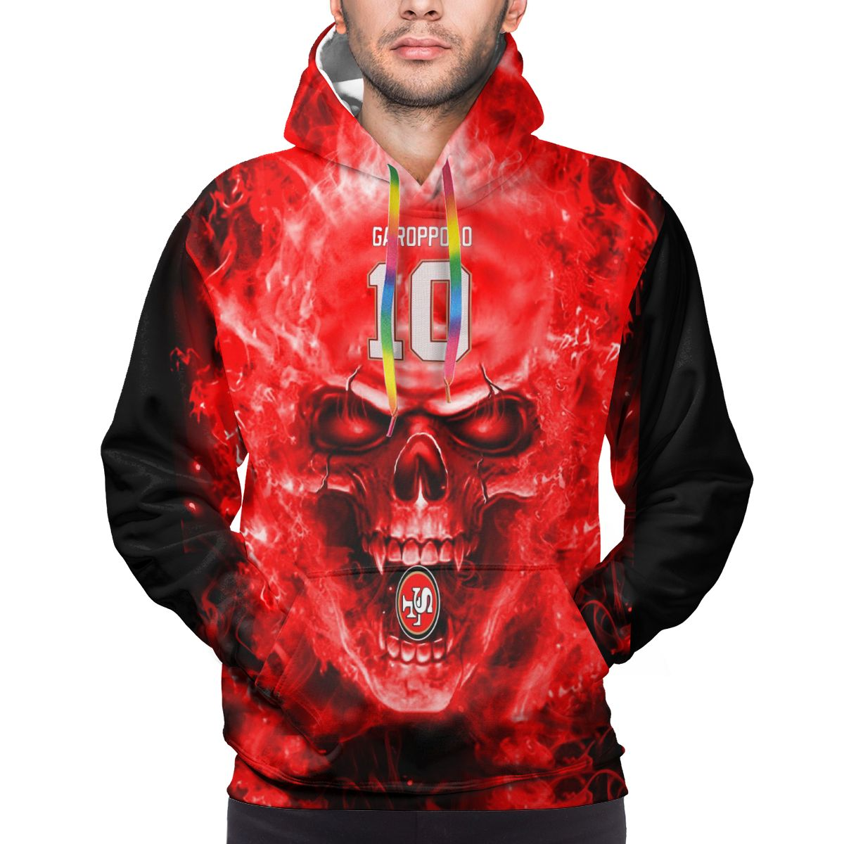 3D Skull 49ers #10 Jimmy Garoppolo Logo Print Hoodies For Men Pullover Sweatshirt