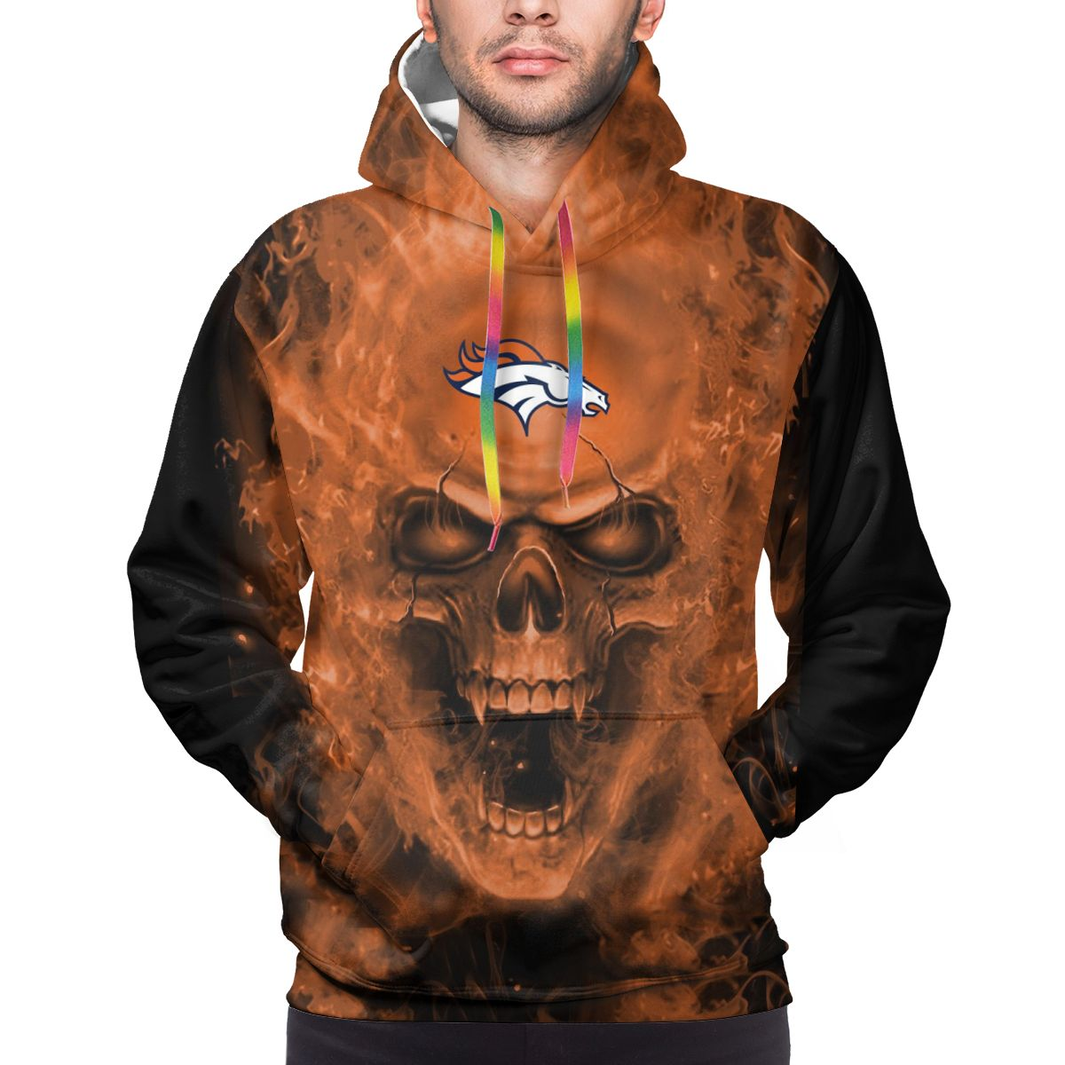 3D Skull Broncos Logo Print Hoodies For Men Pullover Sweatshirt