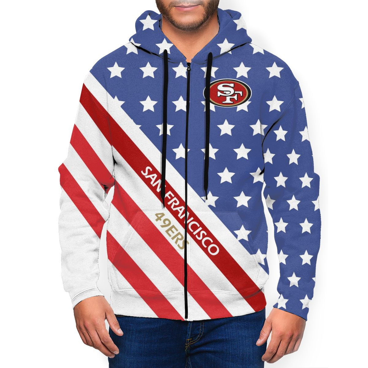 49ers Men's Zip Hooded Sweatshirt