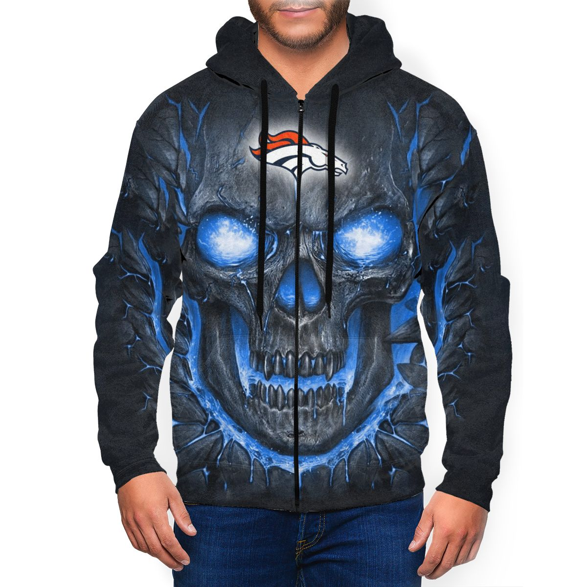 Broncos Skull Lava Men's Zip Hooded Sweatshirt
