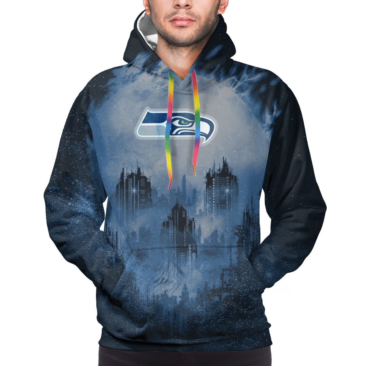 Armageddon Seahawks Logo Print Hoodies For Men Pullover Sweatshirt