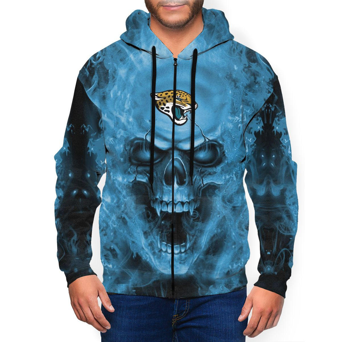 3D Skull Jaguars Men's Zip Hooded Sweatshirt