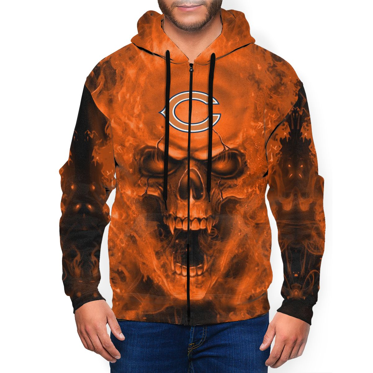 3D Skull Bears Men's Zip Hooded Sweatshirt