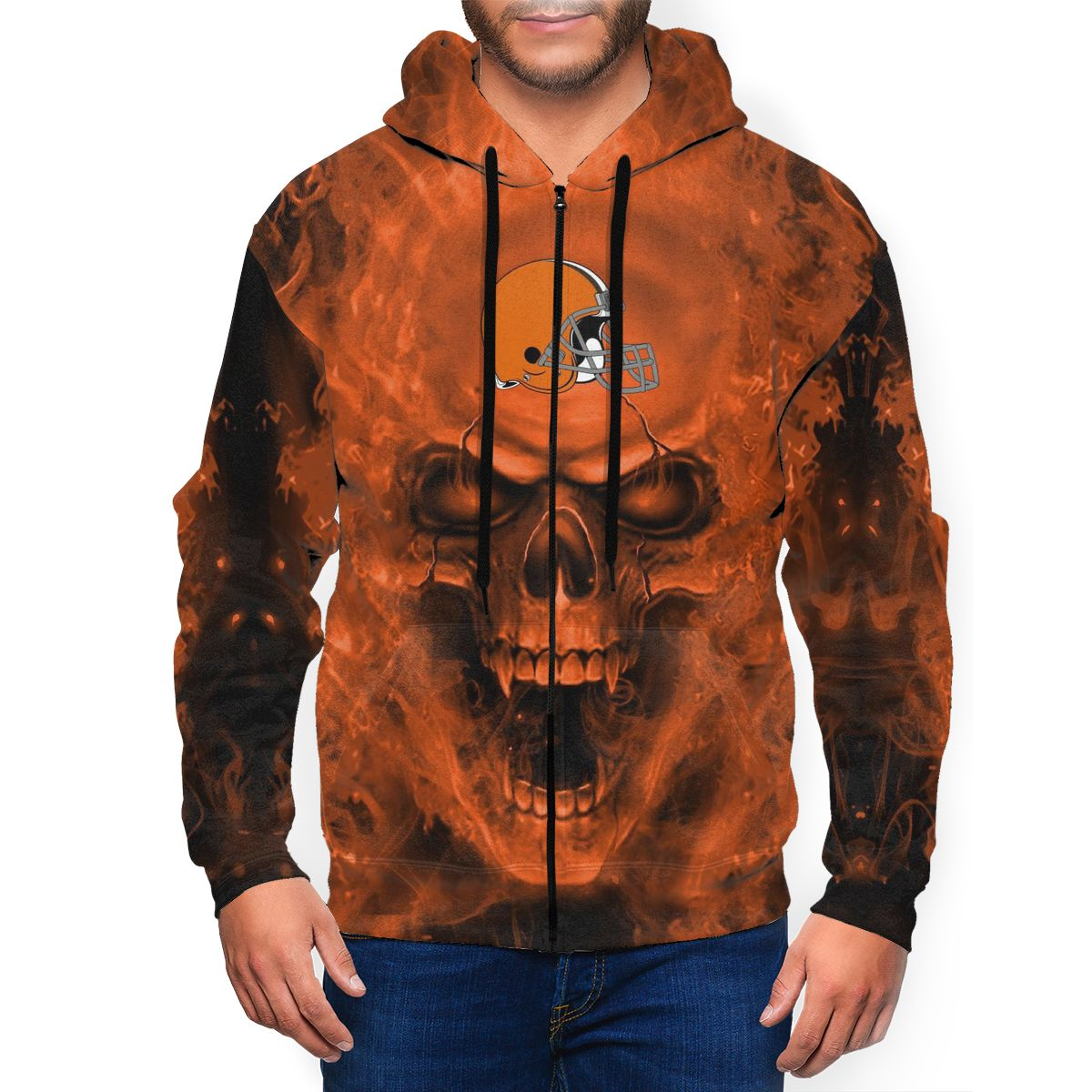 3D Skull Browns Men's Zip Hooded Sweatshirt