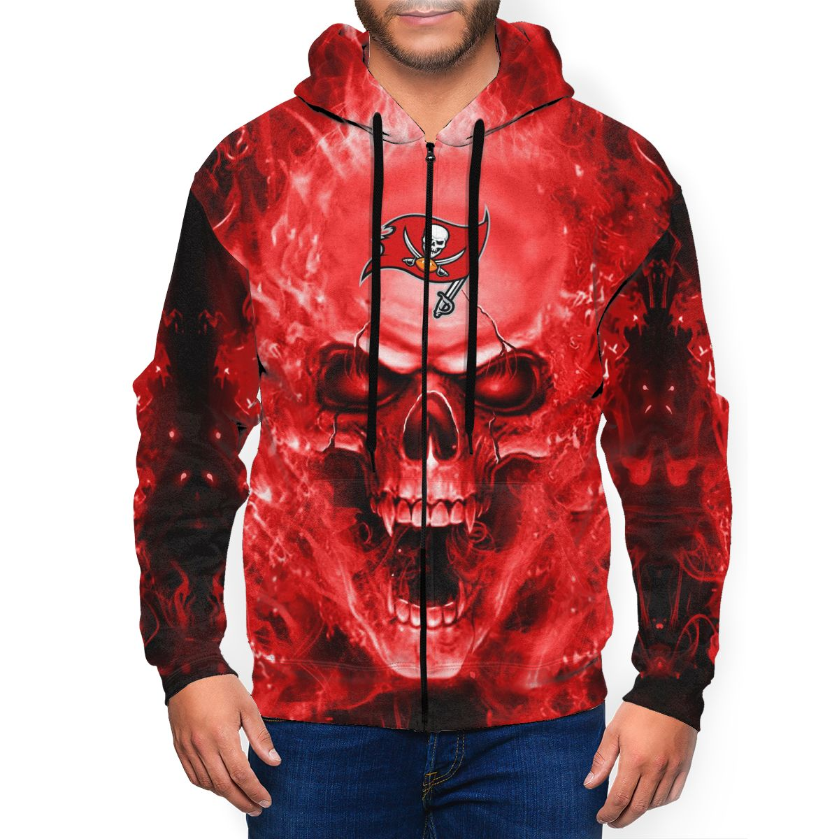 3D Skull Buccaneers Men's Zip Hooded Sweatshirt