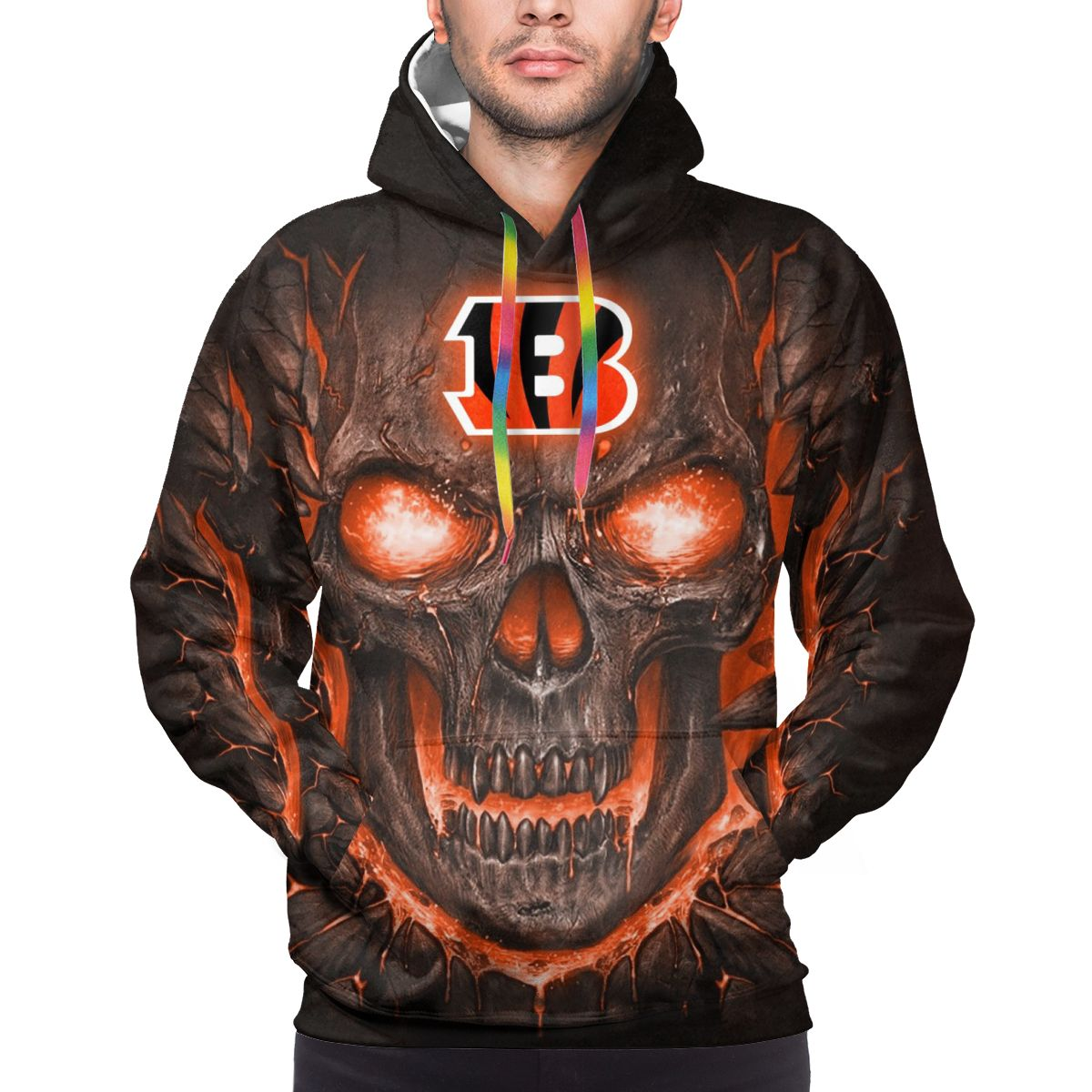 Bengals Skull Lava Logo Print Hoodies For Men Pullover Sweatshirt