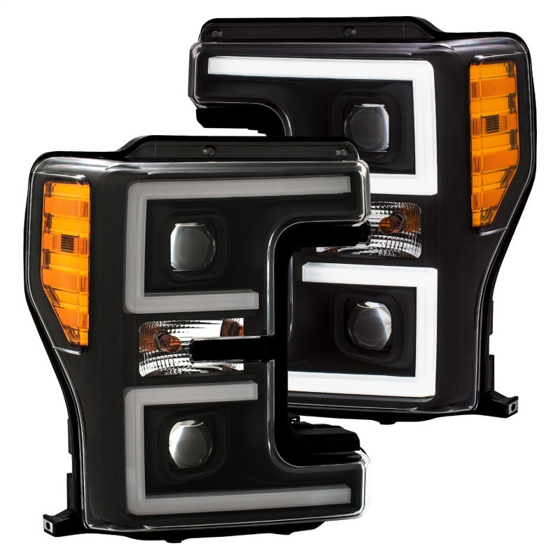 ANZO LED Headlights 17-18 Ford F-250 Super Duty Plank-Style L.E.D. Headlight Black (Pair)