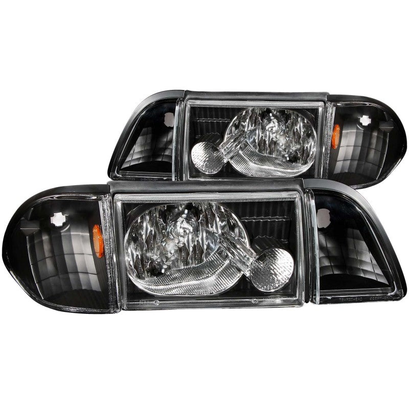 ANZO 1987-1993 Ford Mustang Crystal Headlights Black w/ Corner Lights 3pc