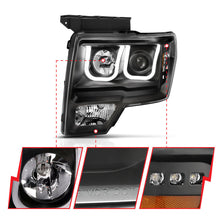 Load image into Gallery viewer, ANZO 2009-2014 Ford F-150 Projector Headlights w/ U-Bar Switchback Black w/ Amber