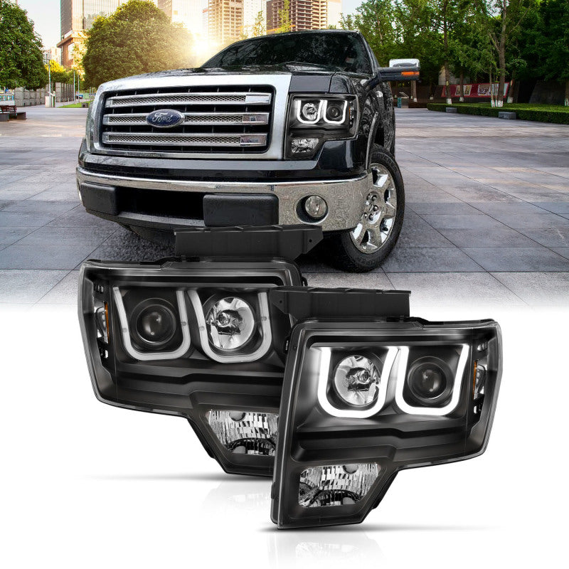 ANZO 2009-2014 Ford F-150 Projector Headlights w/ U-Bar Switchback Black w/ Amber