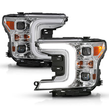 Load image into Gallery viewer, ANZO 18-19 Ford F-150 LED Projector Headlights w/ Plank Style Switchback Chrome w/ Amber