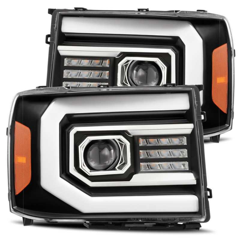 AlphaRex 07-13 GMC 1500HD PRO-Series Proj Headlights Plank Style Matte Blk w/Activ Light/Seq Signal