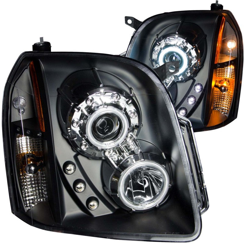 ANZO 2007-2014 Gmc Yukon Projector Headlights w/ Halo Black (CCFL)