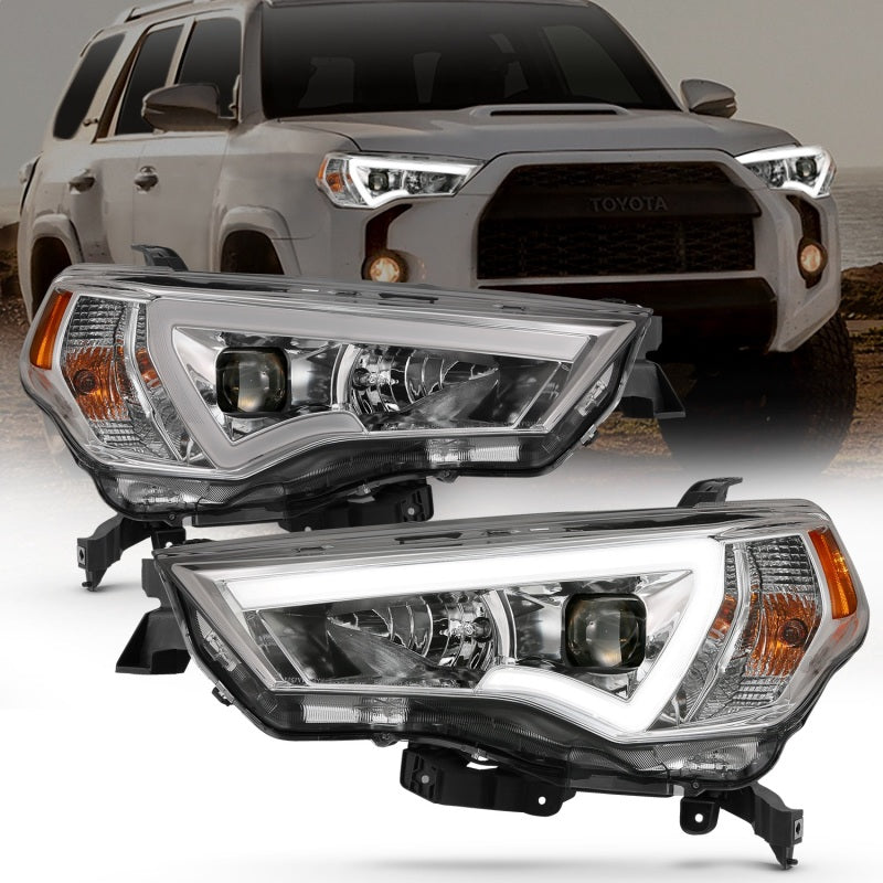 ANZO 14-18 Toyota 4 Runner Plank Style Projector Headlights Chrome w/ Amber