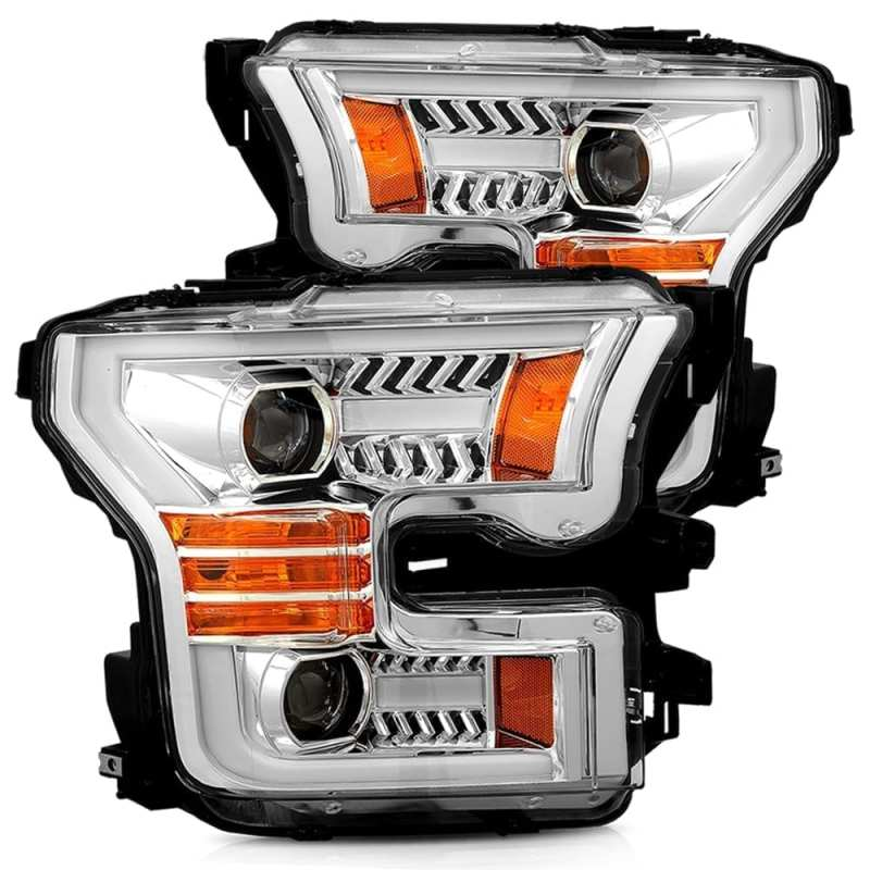 AlphaRex 15-17 Ford F-150 PRO-Series Projector Headlights Plank Style Chrm w/Activ Light/Seq Signal