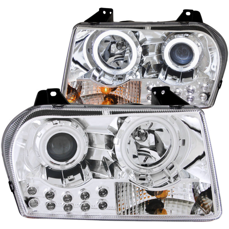 ANZO 2005-2010 Chrysler 300 Projector Headlights w/ Halo Chrome
