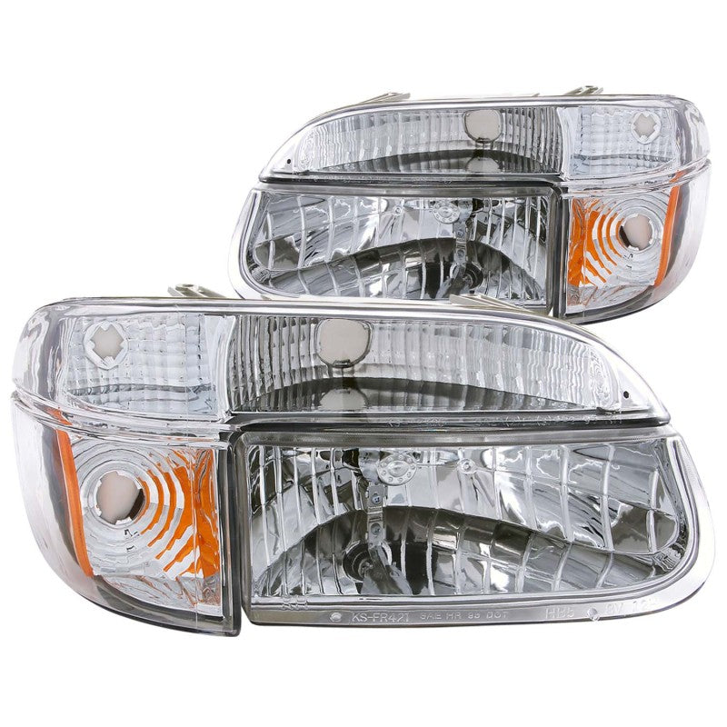 ANZO 1995-2001 Ford Explorer Crystal Headlights Chrome w/ Corner Lights 2pc