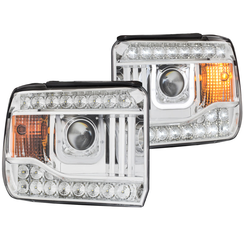 ANZO 2014-2015 Gmc Sierra Projector Headlights w/ U-Bar Chrome