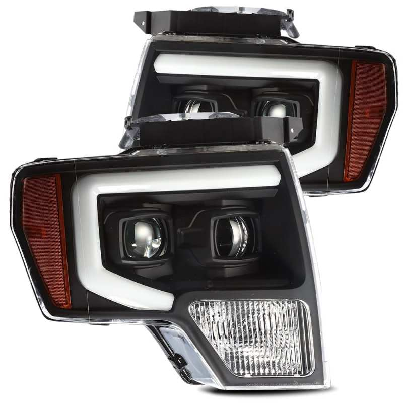 AlphaRex 09-14 Ford F-150 PRO-Series Projector Headlights Plank Style Black w/Activ Light/Seq Signal