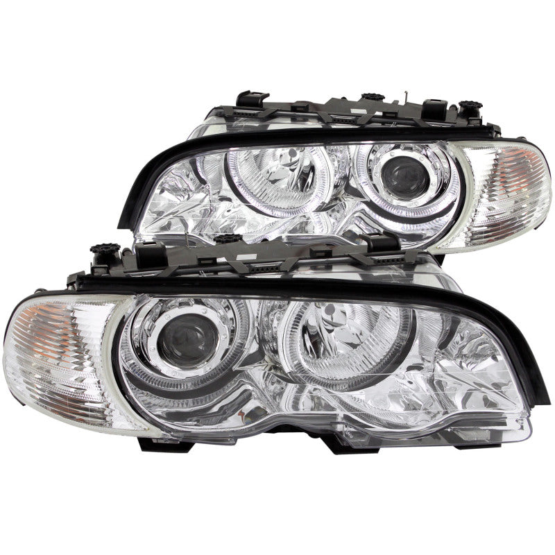 ANZO 2000-2003 BMW 3 Series E46 Projector Headlights w/ Halo Chrome