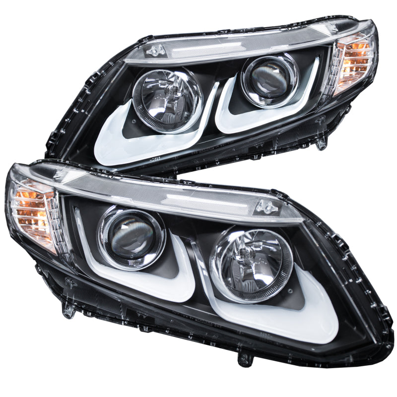 ANZO 2012-2015 Honda Civic Projector Headlights w/ U-Bar Black