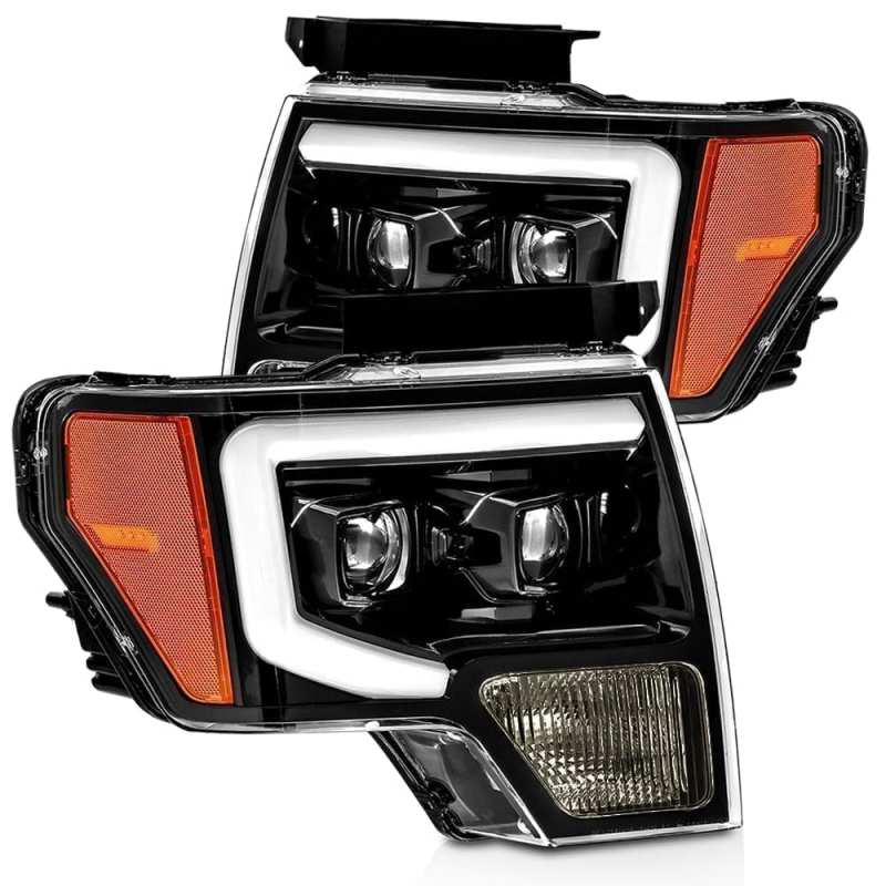 AlphaRex 09-14 Ford F-150 PRO-Series Proj Headlights Plank Style Gloss Blk w/Activ Light/Seq Signal