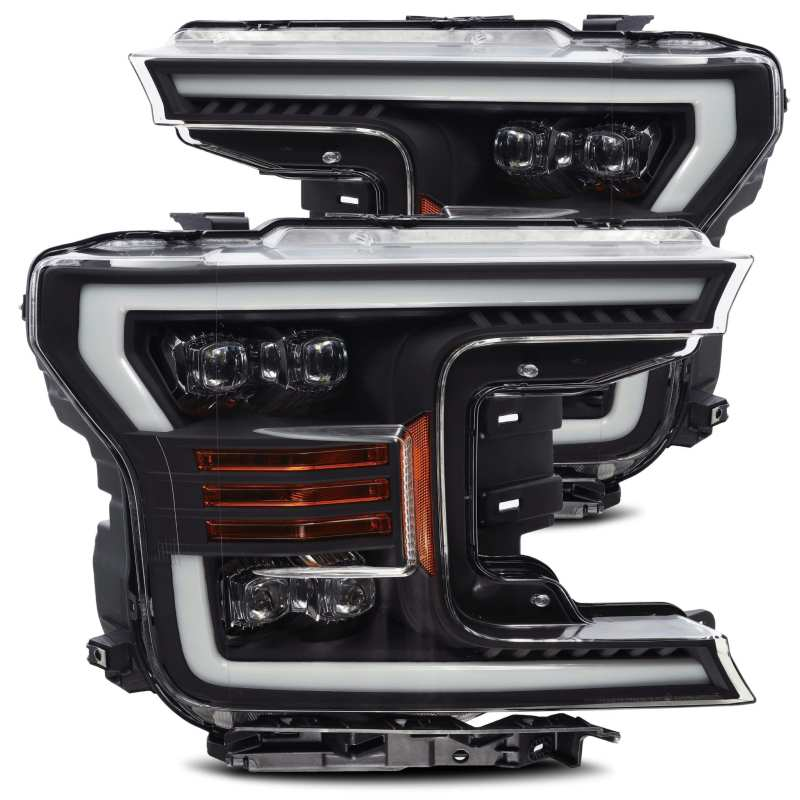 AlphaRex 18-19 Ford F-150 NOVA LED Proj Headlights Plank Style Matte Black w/Activ Light/Seq Signal