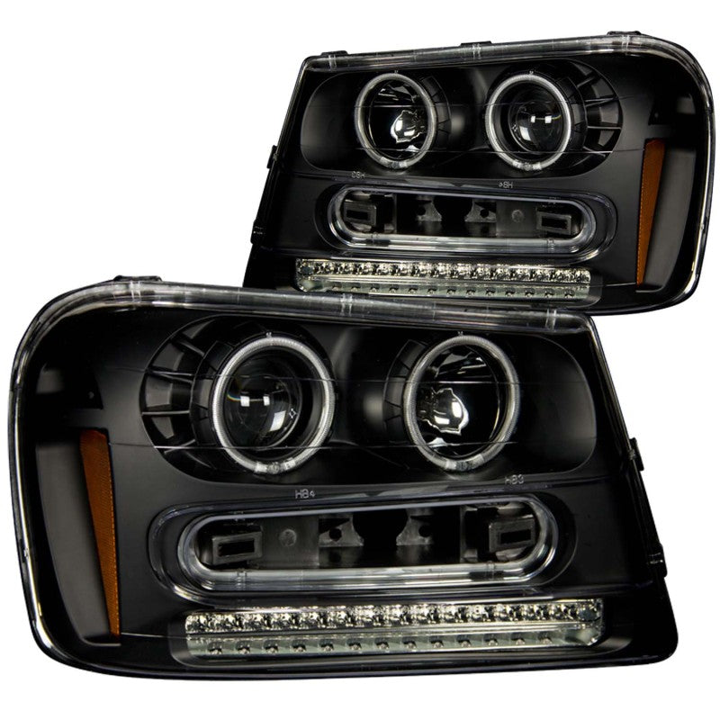 ANZO 2002-2009 Chevrolet Trailblazer Projector Headlights w/ Halo Black