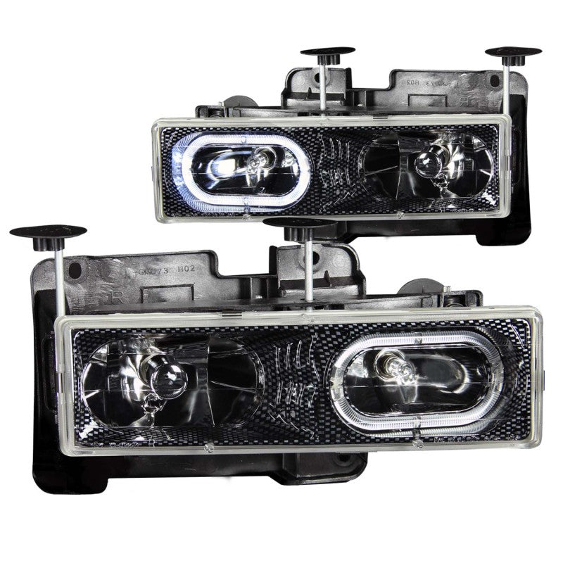 ANZO 1988-1998 Chevrolet C1500 Crystal Headlights Carbon w/ Halo