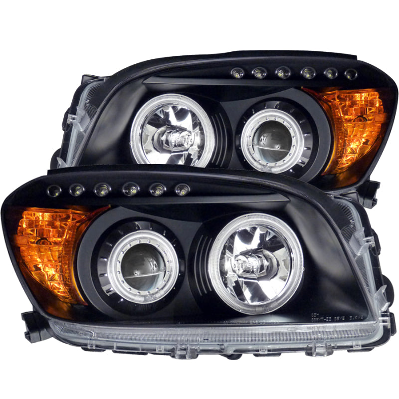 ANZO 2006-2008 Toyota Rav4 Projector Headlights w/ Halo Black