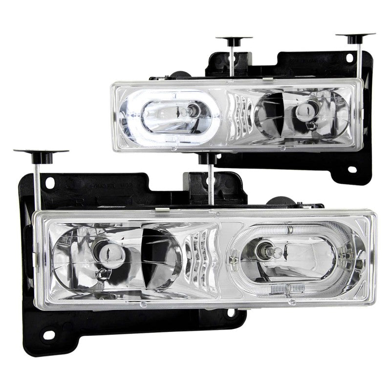 ANZO 1988-1998 Chevrolet C1500 Crystal Headlights Chrome w/ Halo