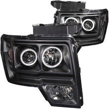 Load image into Gallery viewer, ANZO 2009-2014 Ford F-150 Projector Headlights w/ Halo Black (CCFL)