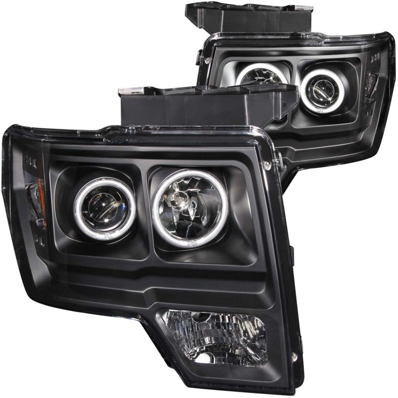 ANZO 2009-2014 Ford F-150 Projector Headlights w/ Halo Black (CCFL)