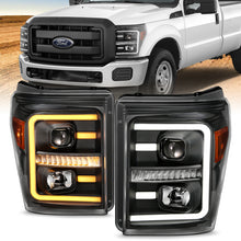 Load image into Gallery viewer, ANZO 2011-2016 Ford F250 Projector Headlights w/ Plank Style Switchback Black w/ Amber