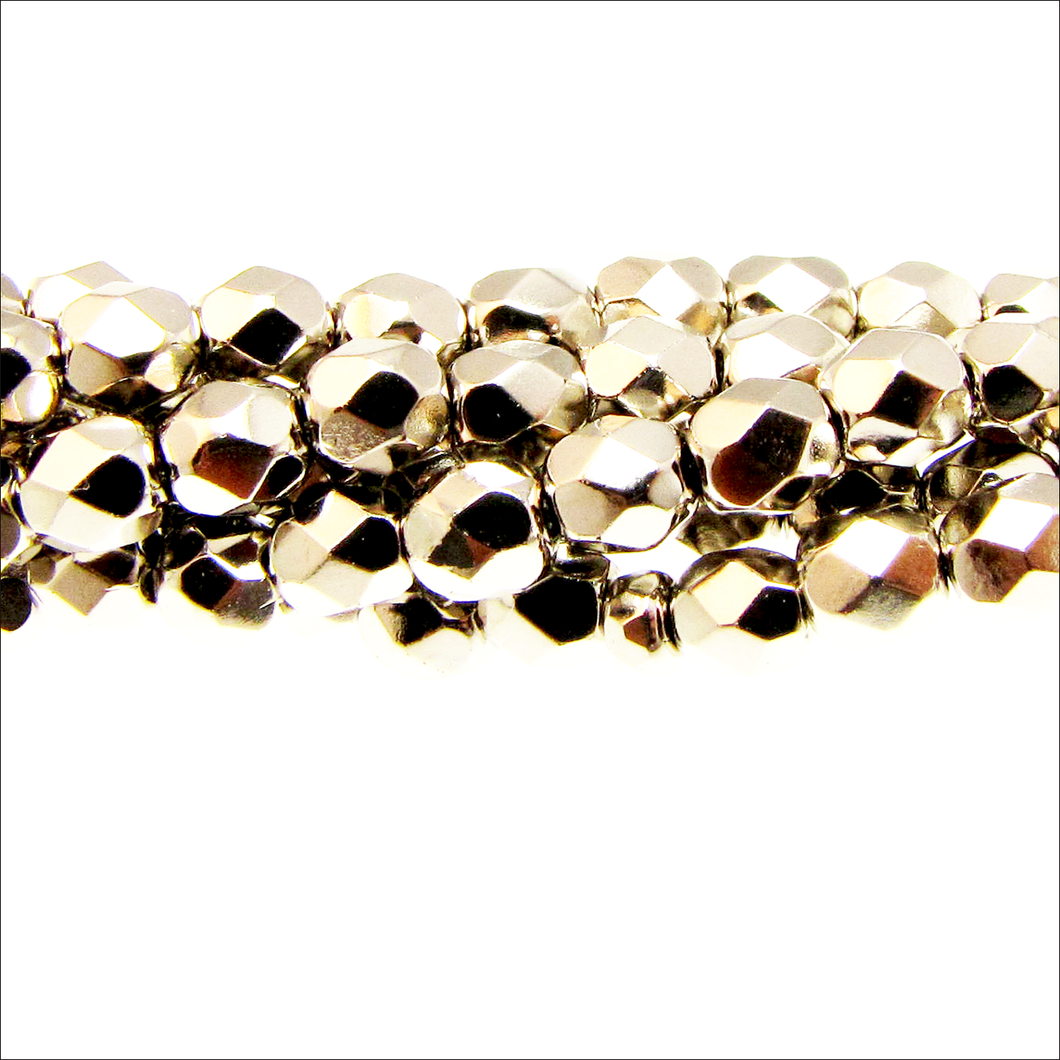 Faceted Fire Polished Rounds 4mm Nickel Plated Qty:40 strung