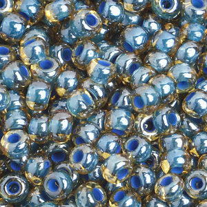 Czech Seedbeads 6/0 Light Topaz Blue Lined Qty:23g