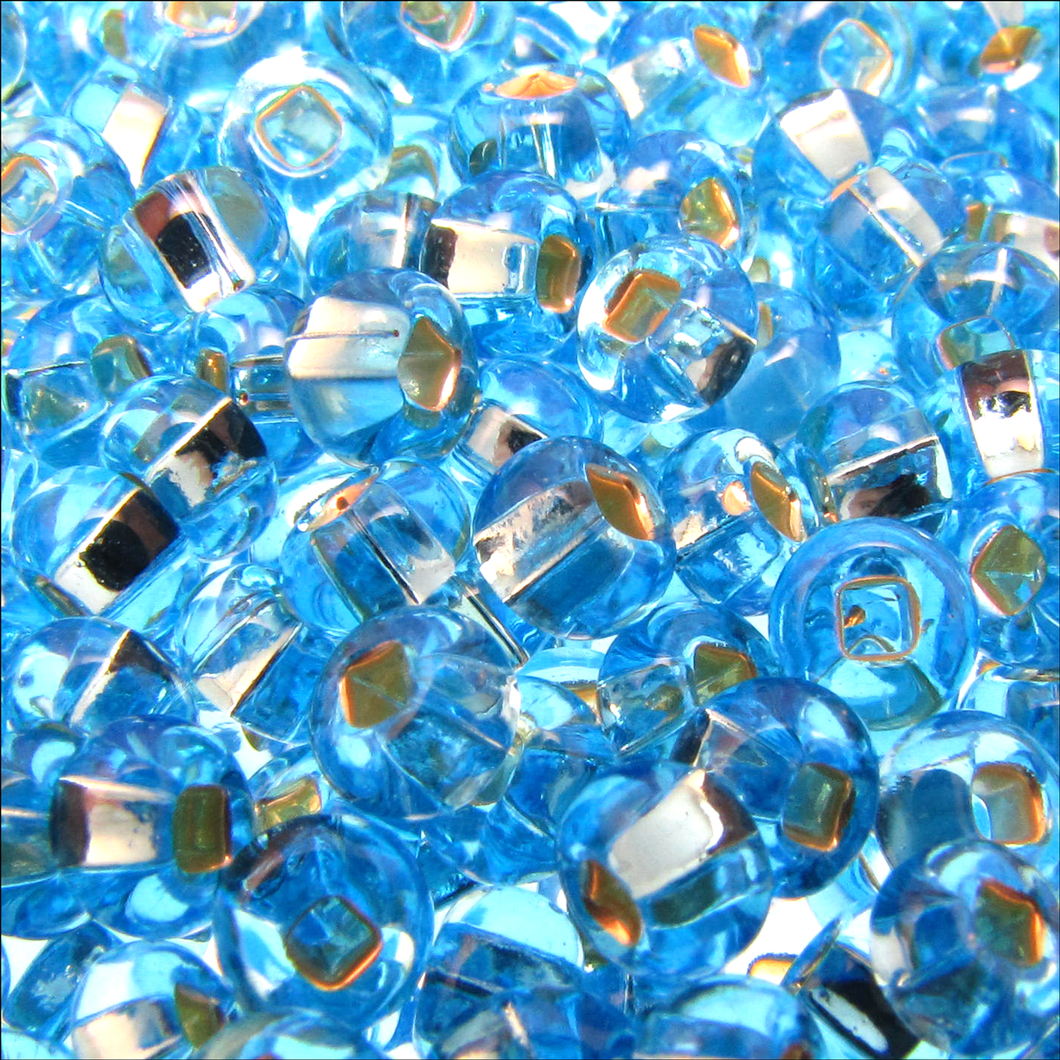 Czech Seedbeads 6/0 Aqua Silverlined Qty:23g Tube