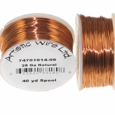 Artistic Wire 28 Gauge Natural Copper Qty:40 Yd Spool