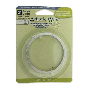 Artistic Wire Flat 21 Gauge Non-Tarnish Silver Qty:3ft/0.91m